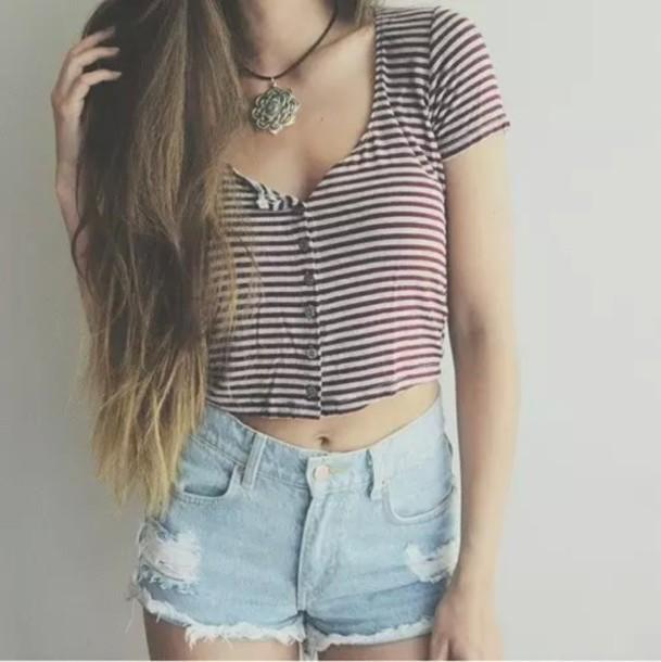 shirt striped shirt crop tops t-shirt