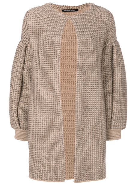 Antonino Valenti - knitted draped coat - women - Nylon/Polyester/Viscose/Wool - 42, Nude/Neutrals, Nylon/Polyester/Viscose/Wool