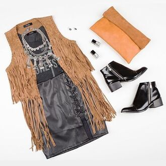 top vest fringe vest fringes sleeveless vest western faux suede chestnut tan cognac angl