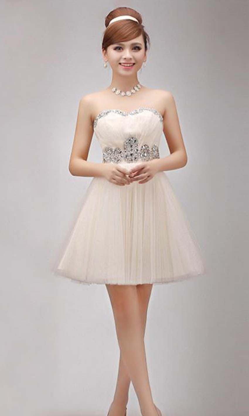 to wear - Bridesmaid champagne dresses short video