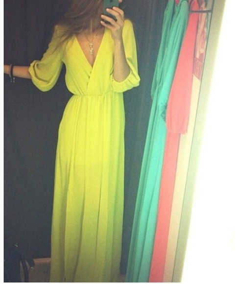 dress yellow dress maxi dress