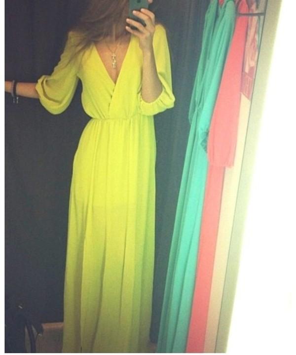 dress yellow dress maxi dress