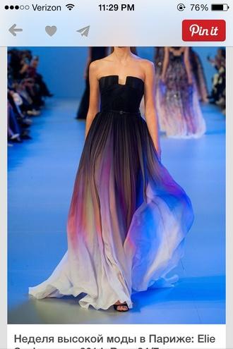 dress colorful prom long dress black dress ombre dress