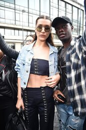 top,crop tops,pants,bella hadid,jacket,model off-duty,denim jacket,bandeau,sunglasses
