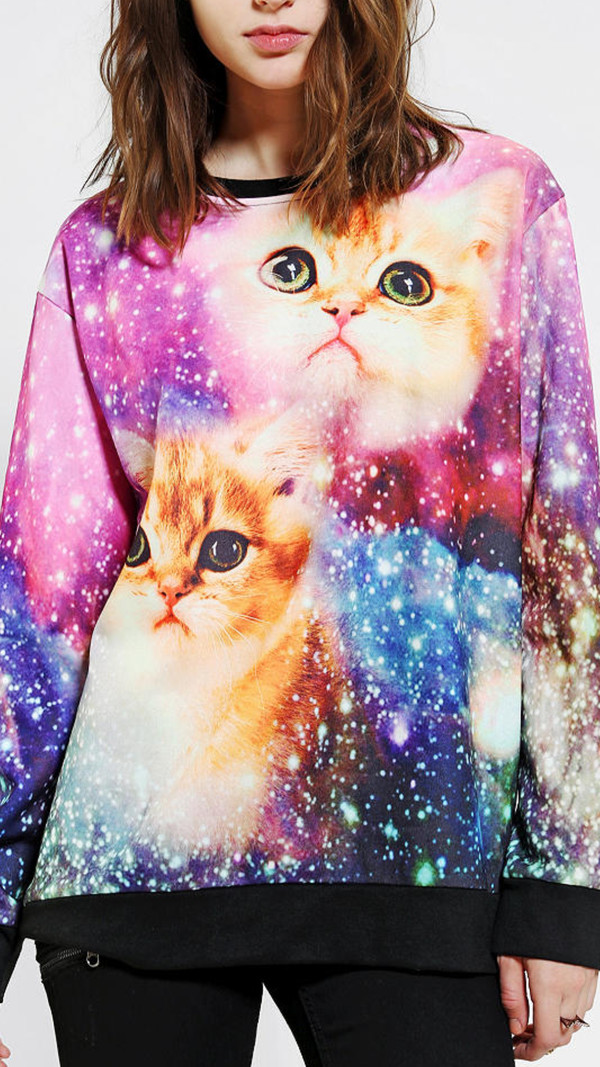 sweater galaxy print cats