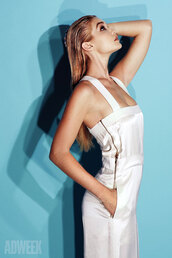 jumpsuit,white,gigi hadid,satin,editorial,white jumpsuit