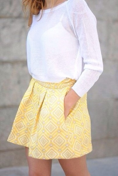 blouse white blouse yellow skirt ornamented squares skirt