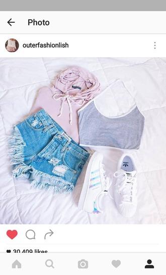 shirt jacket adidas short débardeur mode fashion chic girl grey crop top top hoodie pink sweater