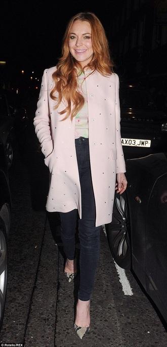 lindsay lohan pink coat