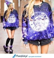 shoes,sweater,shorts,beanie,starbucks coffee,knee high socks,platform shoes,hat,cosmo,logo,purple,stars,galaxy print,galaxysweater,black,purple dress,starbucks logo,galaxy sweater,cool shoes,cool,print,pastel goth