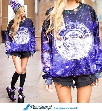 shoes sweater shorts beanie starbucks coffee knee high socks platform shoes hat cosmo logo purple stars galaxy print galaxysweater black purple dress starbucks logo galaxy sweater cool shoes cool print pastel goth