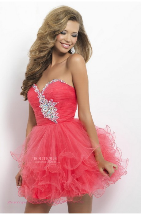 Princess sweetheart short/mini organza rhinestone corset back homecoming dress