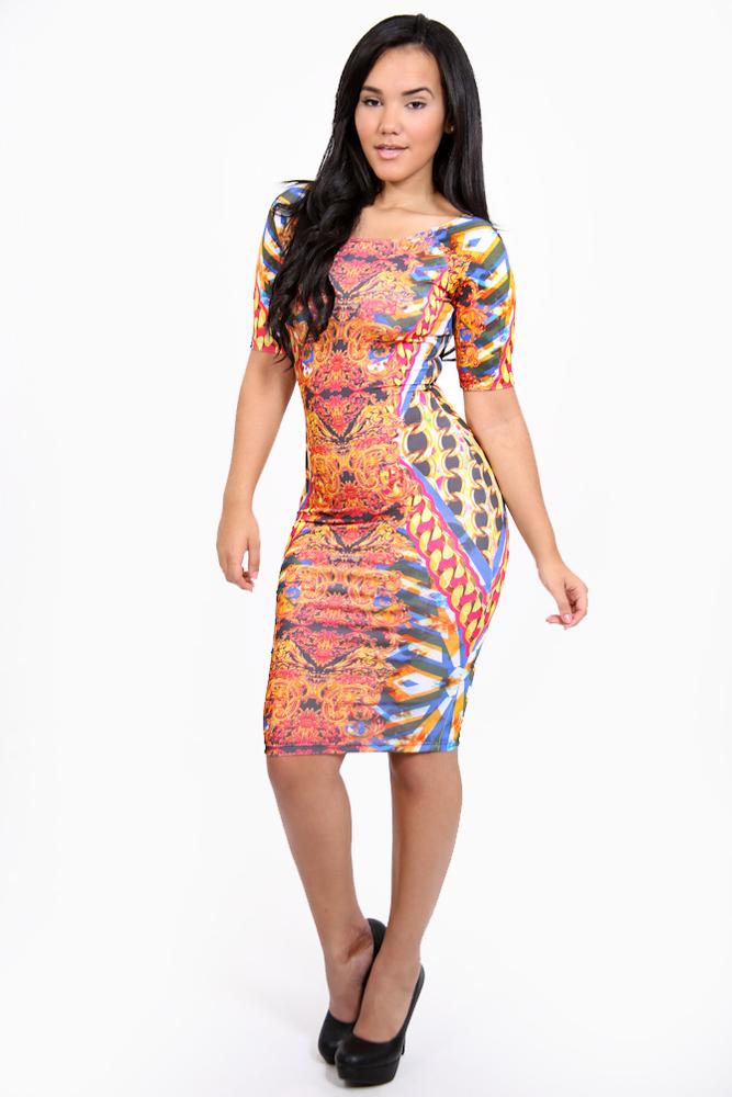 Shopaholicfashionistas — celebrity inspired rasheeda abstract gold chains and baroque print bodycon dress