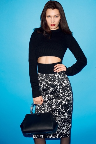 bella hadid crop tops black crop top black top skirt pencil skirt bag black bag celebrity midi skirt