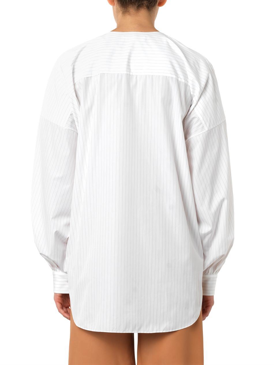 Pinstriped collarless cotton shirt | Chloé | MATCHESFASHION.COM