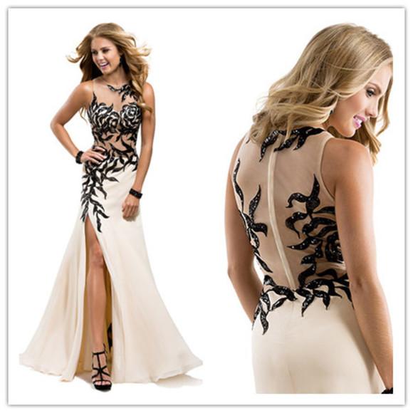 evening dress women dress high slit dress prom dress 2014 celebrity dress applique dress floral dress tulle dress sexy dress see through dress