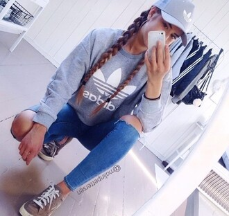 sweater pullover hoodie grey adidas tumblr