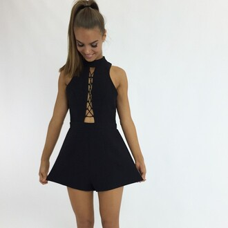 romper black black playsuit peppermayo