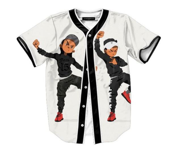 jacket baseball jersey top riley from boondocks black white