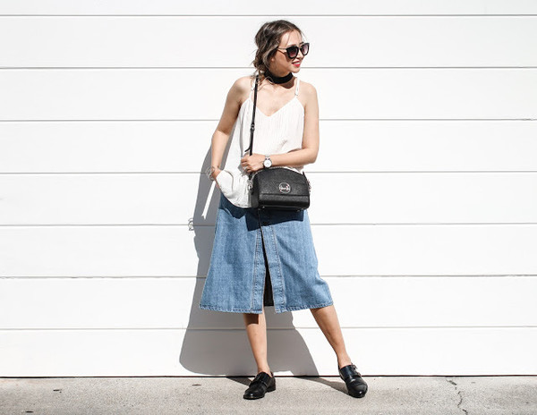 queen horsfall different colors & different styles blogger top skirt bag jewels shoes cami top denim slit skirt midi skirt denim skirt black bag crossbody bag sunglasses black sunglasses black shoes white top