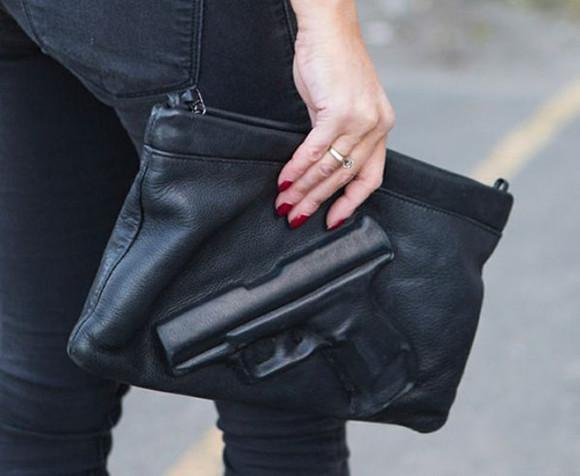 bag blogger clutch purse gun clutch gun black fashion street fashion style