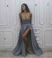 dress,grey dress,gown,prom dress,blue dress,maxi dress,brunette,prom,blue