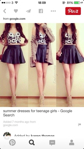 top summer cute flowers black skirt style summer top black skirt black skater skirt