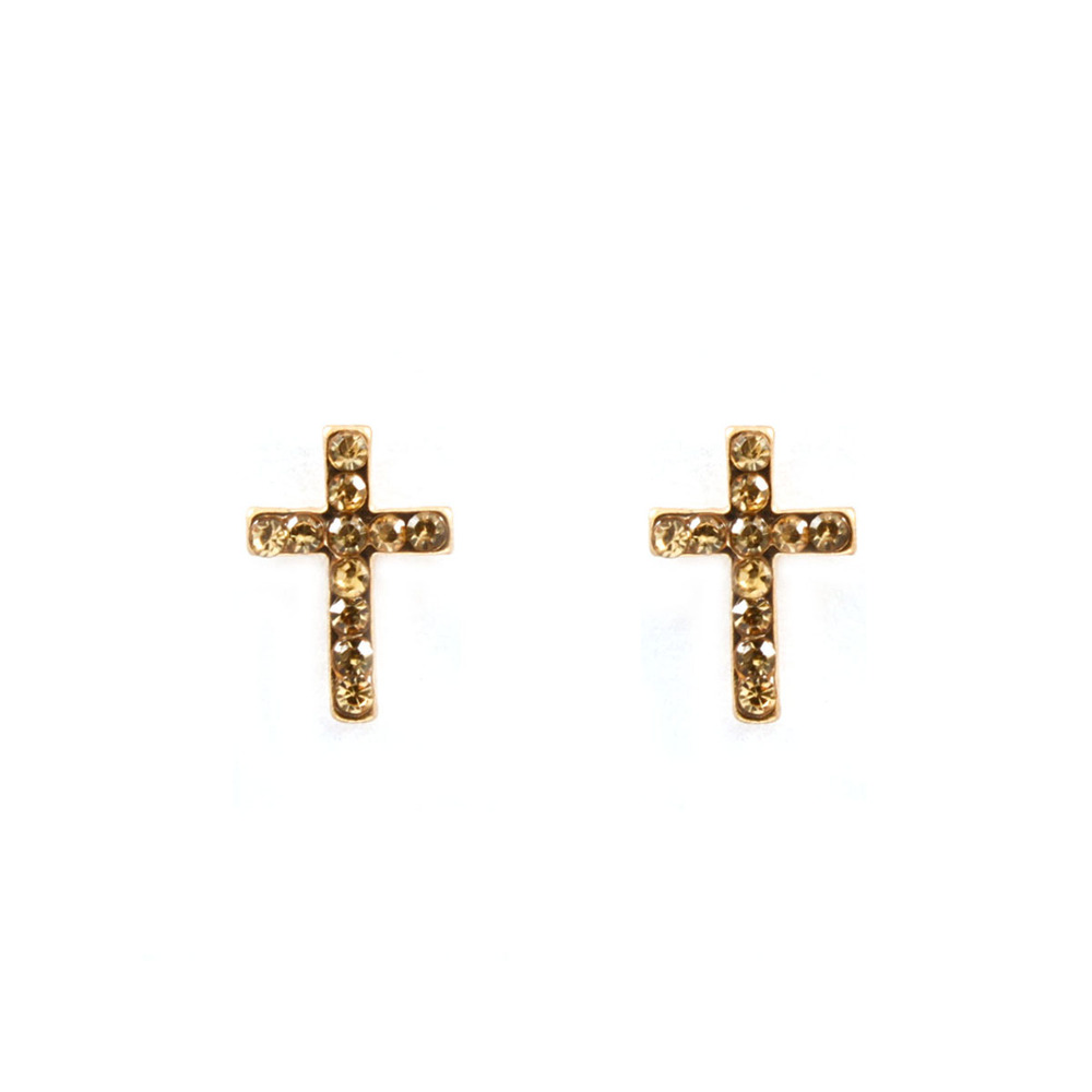 Tiny crystal cross stud earrings