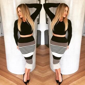 skirt crop crop tops pencil skirt stripes striped skirt midi skirt khloe kardashian instagram pumps top