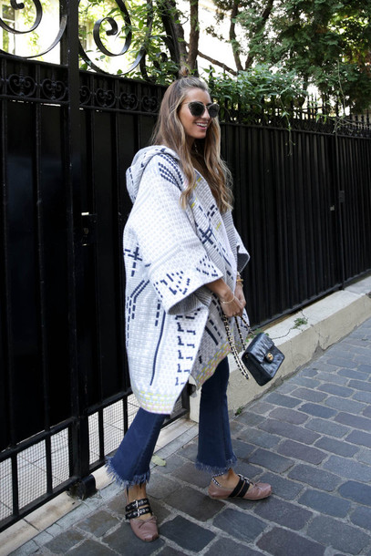 b a r t a b a c blogger jeans shoes bag sunglasses flare jeans chanel bag chanel printed oversized coat coat tumblr white coat cape printed coat oversized denim blue jeans frayed denim frayed jeans ballet flats flats nude shoes black bag
