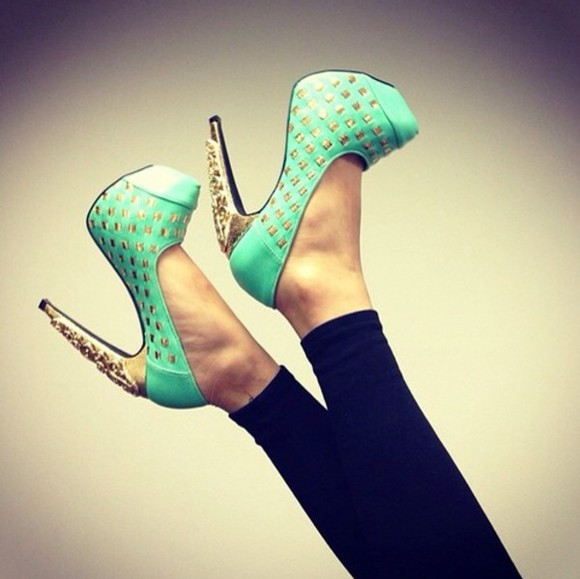 mint shoes green gold high heels