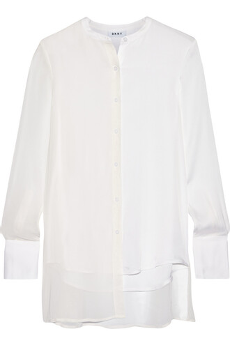 blouse chiffon silk white top