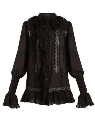 blouse ruffle silk black top