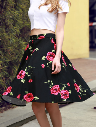 skirt floral black red summer fashion spring girly style dressfo