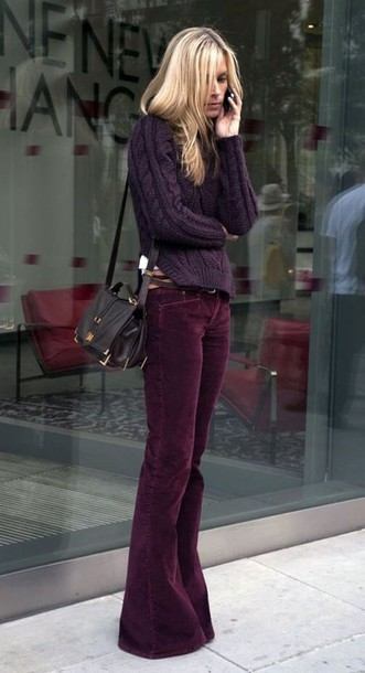 pants burgundy pants wide-leg pants fashion fall outfits fall colors oxblood flare wide-leg velvet brown
