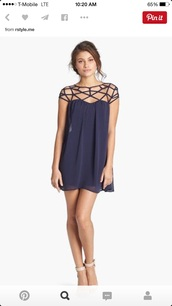 dress,blue dress,navy dress,navy,blue,homecoming dress,homecoming,graduation dress,heels,style,hairstyles,strappy,shift dress,caged