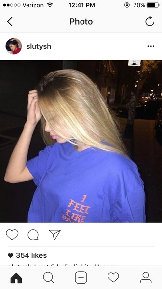 shirt blue orange t-shirt tumblr blonde hair