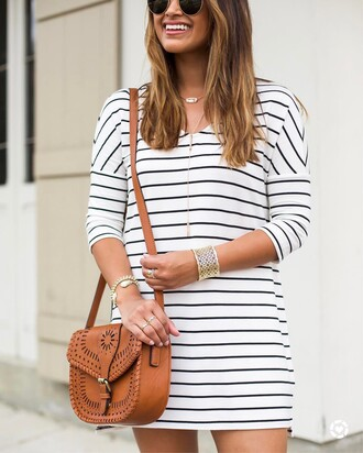 dress tumblr sunglasses mini dress stripes striped dress three-quarter sleeves bag brown bag necklace gold necklace jewelry gold jewelry