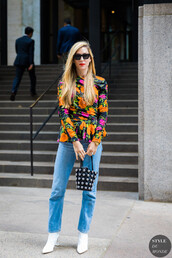 jeans,denim,shirt,floral,floral top,shoes,bag,sunglasses