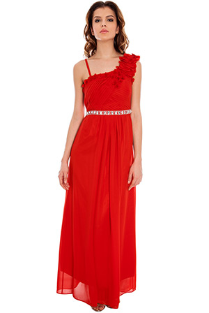 One Shoulder Petal Maxi