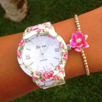 jewels flowered watch watch watch with flowers color white color black geneva
