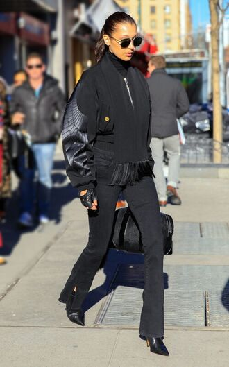 jacket pants all black everything fall outfits bella hadid model off-duty streetstyle