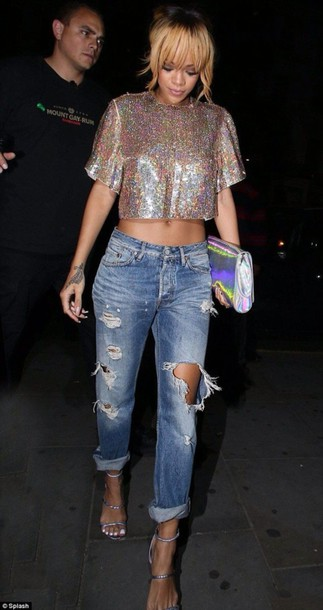 jeans baggy pants shirt glitter sequins top