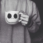jewels,ring,nightmare before christmas,cup,mug,Creppy,jack,cool,black,white,creepy,cute,shirt,skull,stitchedmouth,skull cup,coffee,sweater,grey oversized shirt,home accessory,disney,mr jack