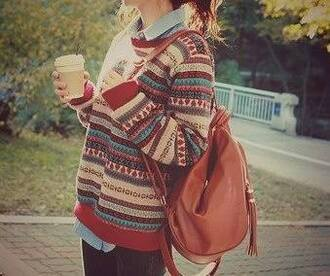 sweater oversized sweater t-shirt bag backpack leather leather backpack sweater weather vintage grunge stripes oversized hipster fall outfits