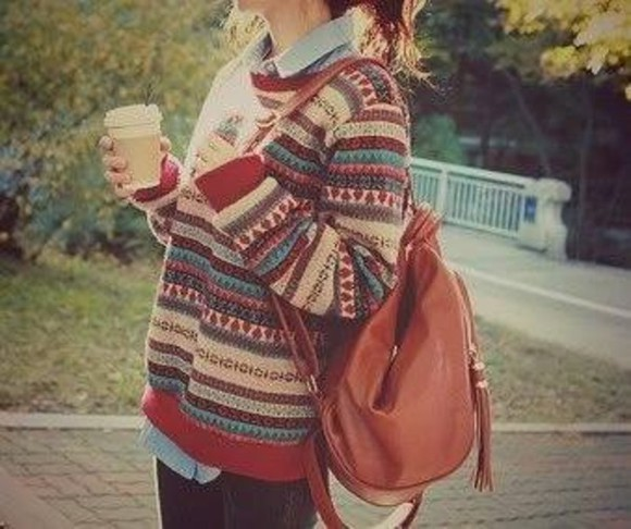 stripes vintage grunge oversized sweater oversized sweater t-shirt bag backpack leather leather backpack Sweater weather