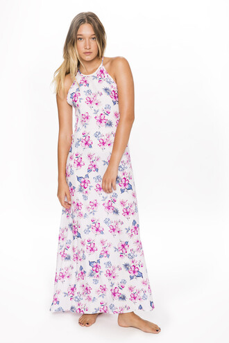 dress cover up floral halter long dress rayon frankies bikini
