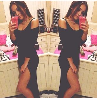 dress black dress slit dress open shoulder
