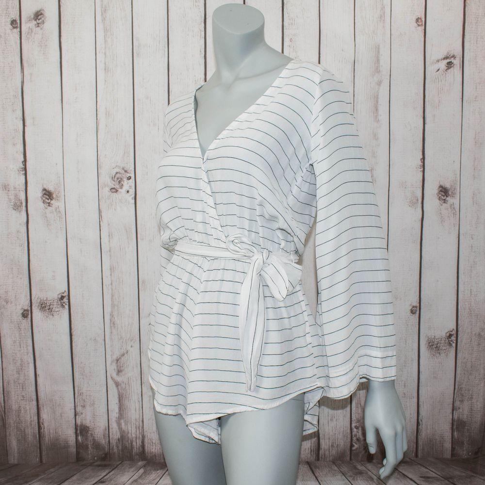 FAITHFULL the Brand Women's Playsuit Romper White Striped Size 2 Rayon