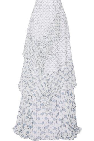 skirt maxi skirt maxi silk white blue